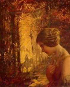 """Alexandre de Riquer (1856 -1920). """"L'arribada de Merlín cercant Viviana al bosc encantat"""". Oli sobre fusta. 26 x 23 cm. Col·l. particular. Barcelona. España."""