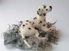 Needle felted Dalmatian