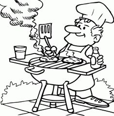 dad barbecuing coloring page