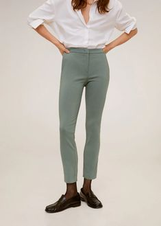 Crop skinny trousers - Woman | Mango South Africa Skinny, Manga, Trousers Women, American Eagle Outfitters, Leggings, South Africa, Patterns, Woman, Prints