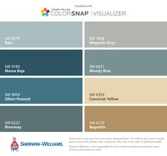 I found these colors with ColorSnap® Visualizer for iPhone by Sherwin-Williams: Rain (SW 6219), Marea Baja (SW 9185), Silken Peacock (SW 9059), Riverway (SW 6222), Magnetic Gray (SW 7058), Moody Blue (SW 6221), Convivial Yellow (SW 6393), Baguette (SW 6123).