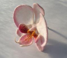 Felt brooch Orchid-butterfly