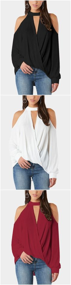 Crossed Front Design Cold Shoulder V-neck Lantern Sleeves Top
