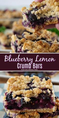 Blueberry Lemon Crumb Bars are super delicious, loaded with fresh blueberries and is a perfect summer dessert.  #dessertfoodrecipes #delicious #blueberries #homemade #greatgrubdelicioustreats