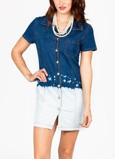 We pretty much love everything denim, so naturally, we're totally in love with this little dip-dyed denim shirtdress.