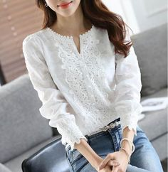 Women Chiffon Blouse Elegant Lace White Work Shirts Long Sleeve Solid Casual Tops Female Blusas Women Clothes - How To Be Trendy White Chiffon Blouse, Chiffon Shirt, Lace Chiffon, White Lace Shirts, Tops Bordados, Office Fashion Women, Ladies Fashion, Work Shirts, Plus Size Blouses
