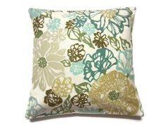 Two Teal Mint Green Olive Green Brown Pillow Covers Modern Floral Decorative Toss Throw Accent Covers 18 inch. $40.00, via Etsy.
