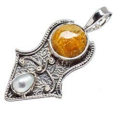 "Rare Ocean Jasper, Cultured Pearl 925 Sterling Silver Pendant 1 5/8"" PD555908"