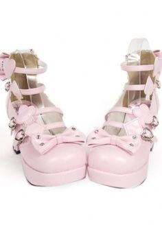5347650c72b8 Pink Chunky Platform Straps With Hearts Lolita Shoes
