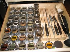 """Ten Ways to Organize Spice Storage in a Drawer"" - I would love to have a drawer large enough to do this!  You know I love an excuse to use my label maker!  =)"