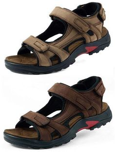 827a83be0f407d Big Size Men Leather Hook Loop Summer Outdoor Beach Sandals is comfortable  to wear