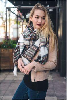 Plaid Blanket Scarf- White/Brown/Mint