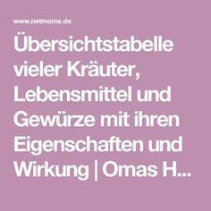 Übersichtstabelle vieler Kräuter, Lebensmittel und Gewürze mit ihren Eigenschaften und Wirkung   Omas Hausmittel   NetMoms.de