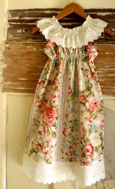 saw the perfect vintage curtains at the thrift store to make a dress like this!  Better go back and buy them! I WOULD MAKE THIS FOR ME