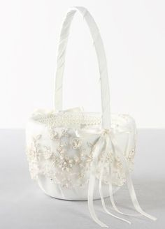 "Ivory Flower Girl Basket adorned with a beautiful embroidered lace pattern accented with sequins and pearls.  Features and Facts:  Basket is 9.5"" tall.  Available online and in stores in Ivory.  Shop the Collection: David's Bridal Exclusive Beaded Gift Set"