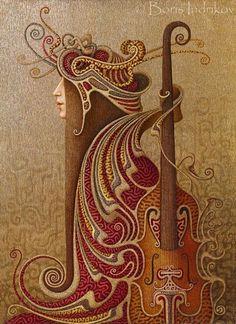 Art nouveau illustration music 24 Ideas for 2019 Arte Art Deco, Design Art Nouveau, Jugendstil Design, Bild Tattoos, Russian Painting, Surrealism Painting, Art Original, Wow Art, Celtic Art