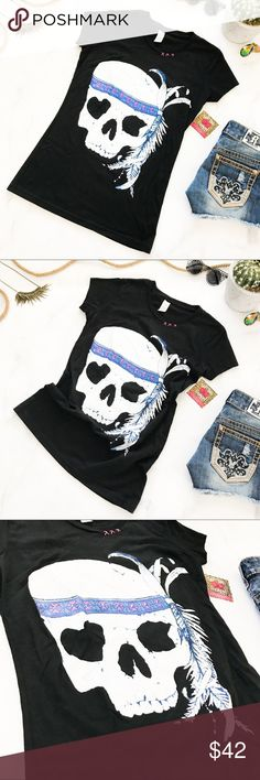 Bohemian Cowgirl Native Skull Tee Brand new with boutique tags! Bohemian Cowgirl is a well known brand from Central Texas. High quality clothing with original designs. This is a Native Skull Tee in Black. Accent colors include, white, multiple shades of blue, and pink. Short Sleeve. Crew Neck. Size small. 100% cotton. Pre-shrunk to maintain size. Tags: country Texas southern flowy casual shirt tshirt top blouse graphic shirt Native American Indian feather Bohemian Cowgirl Tops Tees - Short…