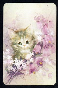 Vintage Swap Card Gorgeous Kitten Flowers I have this one Vintage Birthday Cards, Vintage Cards, Vintage Postcards, Ink Illustrations, Cute Illustration, Old Greeting Cards, Photo Chat, Decoupage Vintage, Cat Cards