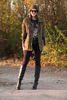 Fashion Blog, Fashion Blogger, What I Wore Blog, What I Wore, What I Wore Today, @Jess Liu Quirk   What I Wore, Jessica Quirk, Jessica Quirk Blog, Tiger Sweater, Army jacket, Cute outfits with ski hats, Purple J. Brand Cords, Black Boots, How to wear a tiger sweater, how to style an animal sweater