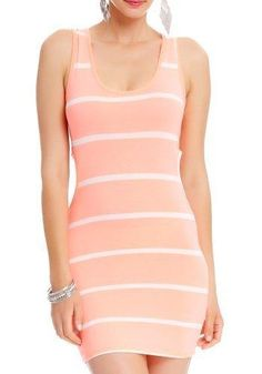 2B Lily Striped Cut-out Dress 2b Day Dresses Neon Coral-s