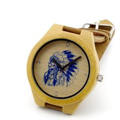 Native Blue Bamboo Watch- Genuine Bamboo and Leather Strap.  2.2cm wide, 24cm strap length.  Hand made time piece. #MensFashion #Watch