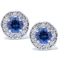 Diamond & Blue Sapphire .70CT Halo Studs 14 Karat by Pompeii3, $199.99