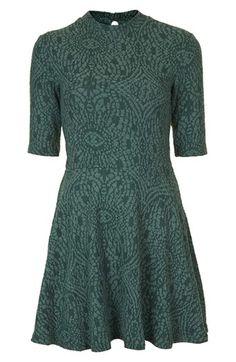 Topshop High Neck Textured Skater Dress | Nordstrom
