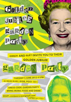 The front and reverse of our invitation for an ironic Jubilee garden party. The irony was that none of us spotted that it should have been 'diamond' jubilee!