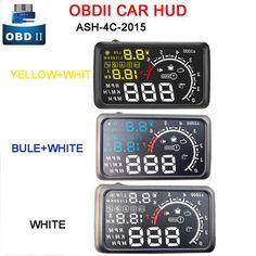 Universal Car HUD Head UP 5.5 LCD Display OBD II Car Styling Car Kit Fuel Overspeed KM/H Pro With Anti-slip Pad Bracket