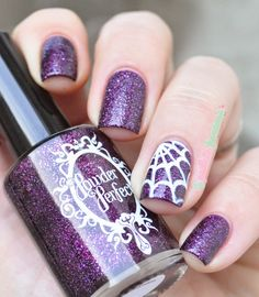 This is Halloween ! Halloween nails dark purple glitter polish with white spider web - powder perfect exhilaration - #nail #nailart - http://lapaillettefrondeuse.blogspot.be/2014/10/this-is-halloween.html