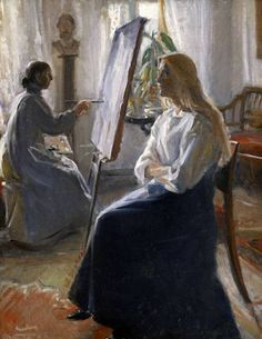 Michael Peter Ancher (Danish, 1849-1927) In the Studio (Anna Ancher, the Artist's Wife Painting).