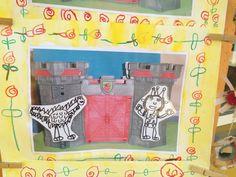 sant Jordi. Figures dibuixades amb retolador negre i plastificades. Enganxades sobre foto fotocopiada en b/n d'un castell. Sanefa de roses al voltant del marc. P-4, a l'escola de la meva filla.
