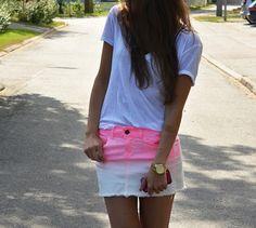 dip dyed skirt from Zara #socialblissStyle #zara #ombre