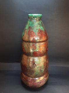 Raku vase with few different cooper glaze. Jed Gjerek Ceramic Artists, Glaze, Ceramics, Home Decor, Enamel, Ceramica, Homemade Home Decor, Decoration Home, Room Decor