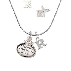 Silvertone Keep Calm Wonder Woman is Here - R Initial Charm Necklace and Stud Earrings Jewelry Set ** You can get more details by clicking on the image. (This is an affiliate link) #JewelryForSale