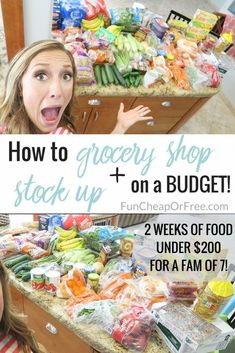 How I grocery shop + stock up on a budget! (My best grocery shopping tips!) - Fun Cheap or Free How I grocery shop + stock up on a budget! (My best grocery shopping tips!) - Fun Cheap or Free Budget Family Meals, Cooking On A Budget, Frugal Meals, Cheap Meals, Freezer Meals, Food Budget, Inexpensive Meals, Easy Cooking, Weekly Meal Plan Family