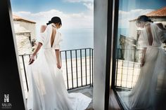 bride's photoshoot, on the balcony with sea view, wedding day, Cilento coast, Sposa Mediterranea, olga studio