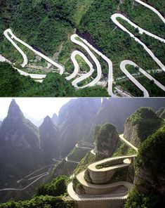 Heaven Linking Avenue – Hunan Province, China. This truly is a path to heaven, with 99 turns to symbolise Heaven's nine palaces, leading you road directly into the clouds. Click on the image to see the world's most breathtaking roads...