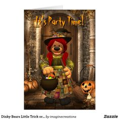 Dinky Bears Little Trick or Treat Witch Card