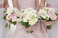 Blush pink and white wedding bouquets