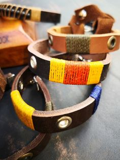 Leather handmade bush armbands.  Design your own on our website www.alloutcreations.co.za. Design Your Own, Belts, Website, Bracelets, Leather, Handmade, Stuff To Buy, Jewelry, Fashion