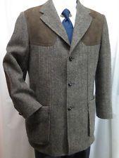 EDDIE BAUER Vintage Harris Tweed Norfolk Shooting/Hunting Jacket 40 Sport Coat
