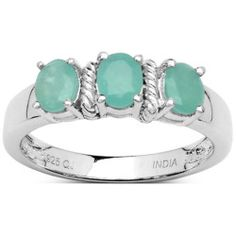 Where to buy Malaika Sterling Silver Oval Emerald 3-stone Ring