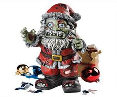 It looks like Santa has just turned into a Zombie. This scary looking zombie Claus holiday statue has that cool nightmare before Christmas theme. It featur