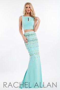 Rachel Allan 7545 Mint Beaded Prom Dress