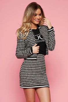 StarShinerS black from 2 pieces lady set with a skirt, zipper fastening, plaid fabric, with pockets, long sleeves