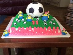 Minion and Soccer Ball Cake