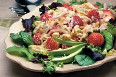 Chicken-and-Strawberry Salad is a combination of flavors and textures that complement each other perfectly.Recipe:Chicken-and-Strawberry Salad