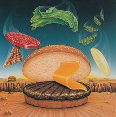 Airbrush by Bob Novak / Via Chrome&Lightning Airbrush Art, 1980s Art, New Retro Wave, 80s Design, Graphic Design, Retro Images, Bobs Burgers, Retro Futuristic, Food Drawing
