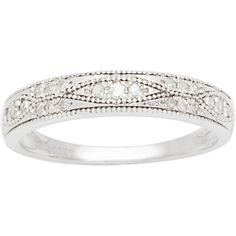 10k White Gold 1/4ct Pave Milgrain Diamond Band